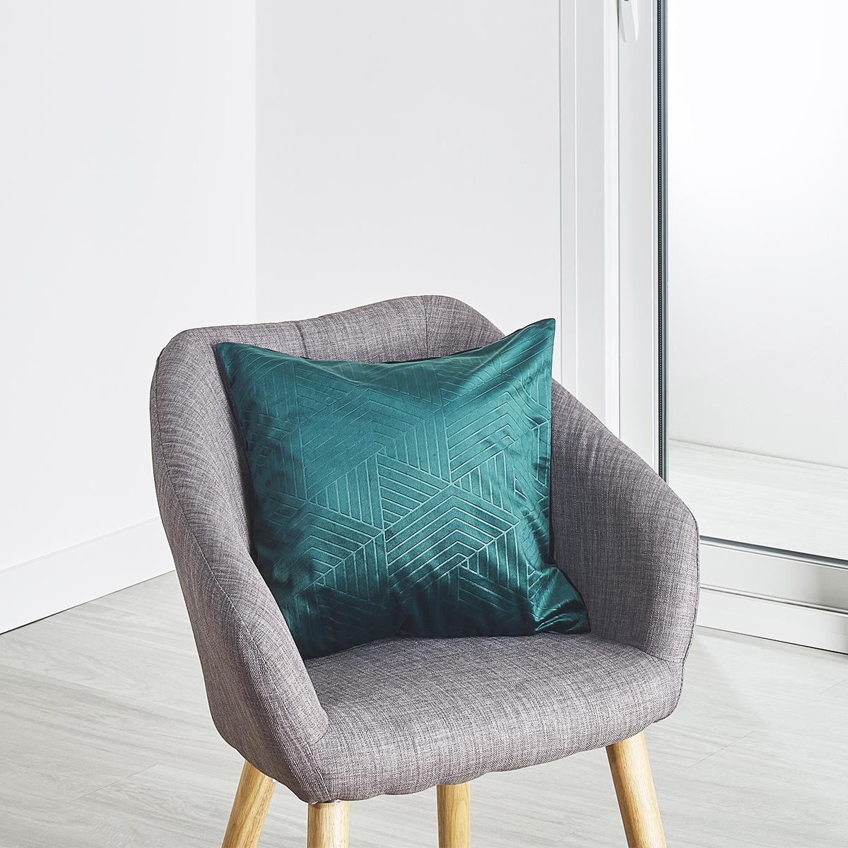 Coussin velours motif embossé 45x45 cm - Bleu Pétrole - 45 x 45cm
