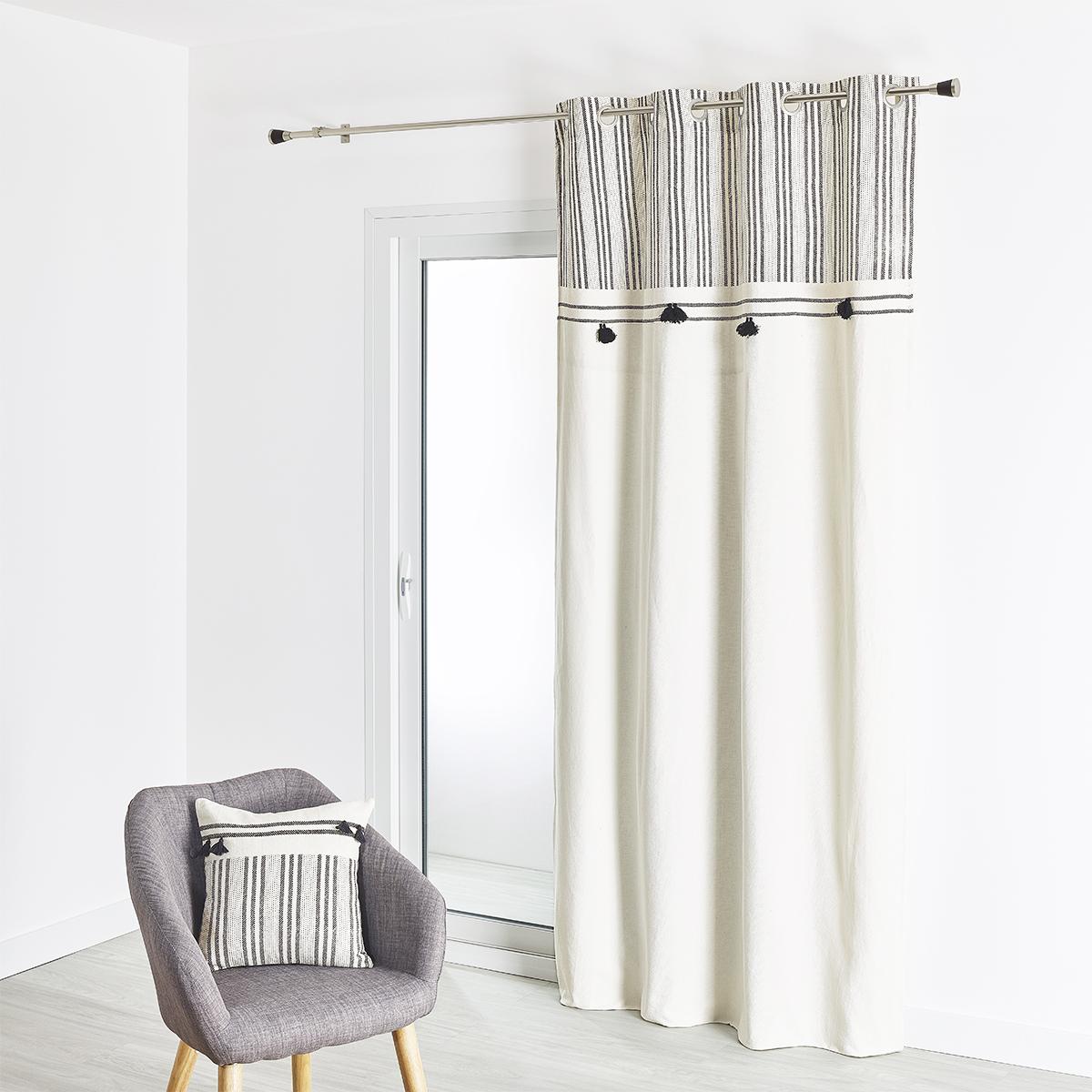 Rideau en coton éthnique imprimé et pompons 135X260 cm (Naturel)