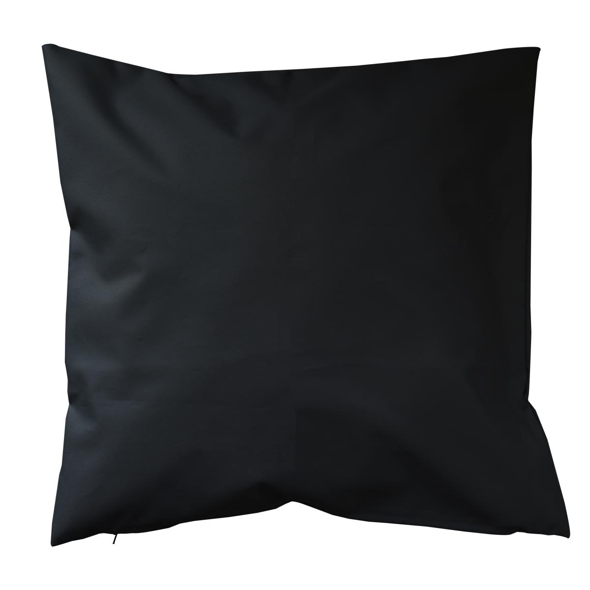 Housse de coussin d'extérieur en tissu outdoor - Noir - 60 x 60cm