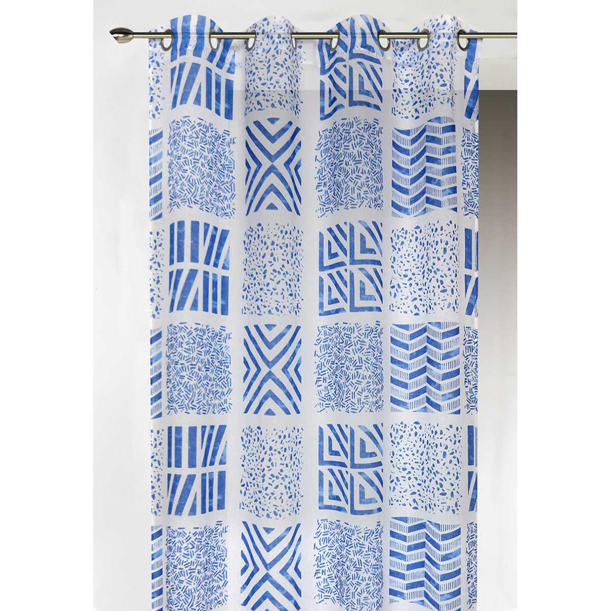 Voilage en étamine imprimée en mosaique (Bleu)