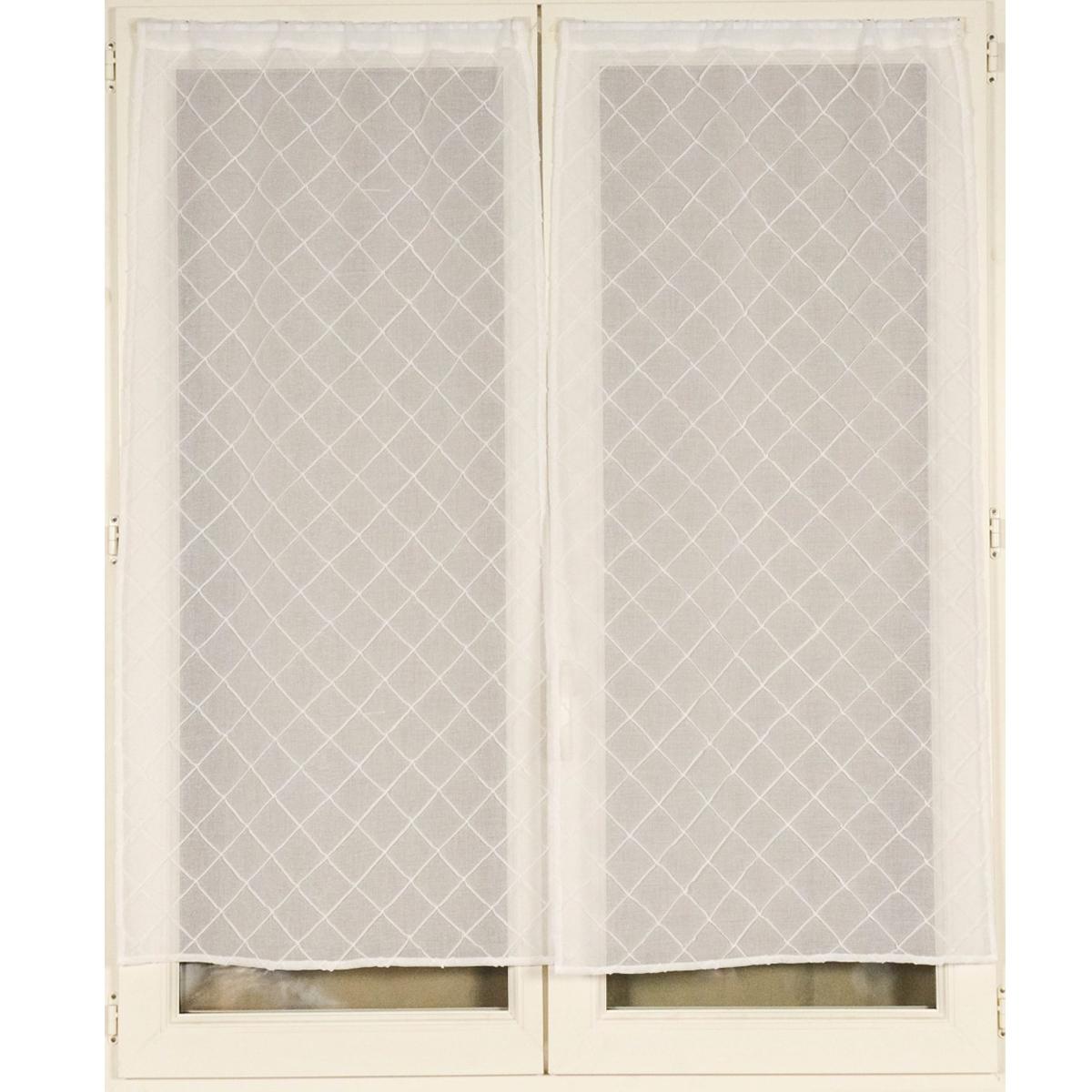 Voilage vitrages à la paire brodé croisillons 060x120 cm (Blanc)