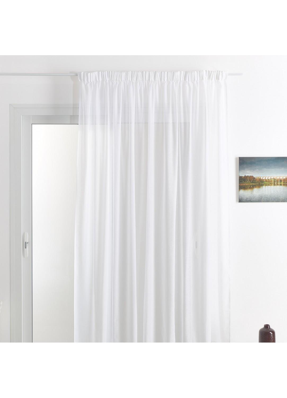 Rideau voilage classique uni polyester-lin avec bas plombé (Blanc)