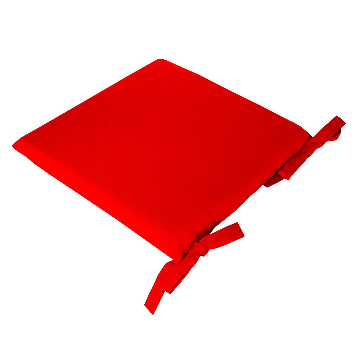 Galette de Chaise Uni en Pur Coton - Rouge - 38 x 38 x 4,5 cm