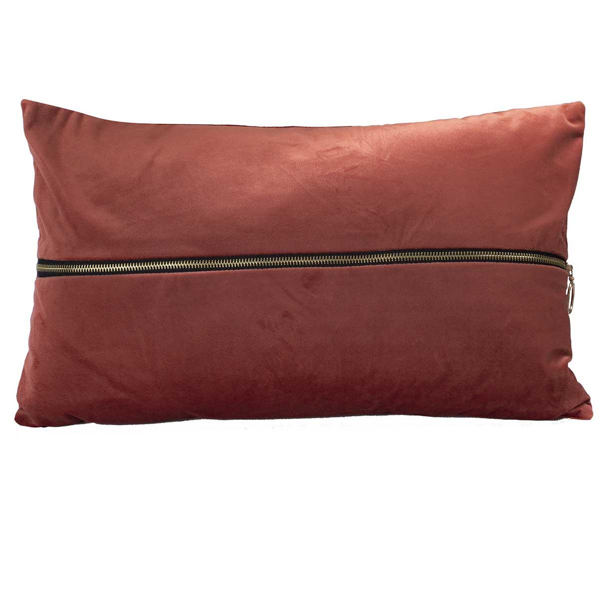 Coussin déhoussable en velours uni avec zip (Terre Cuite)
