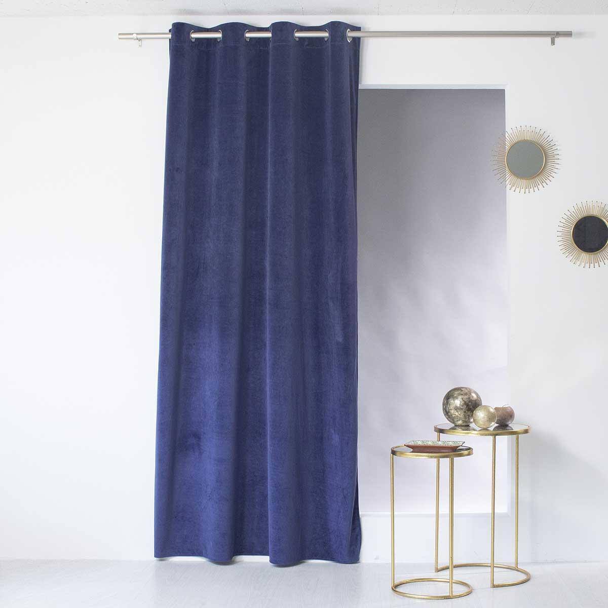 Rideau tamisant en velours coloré (Bleu Nuit)