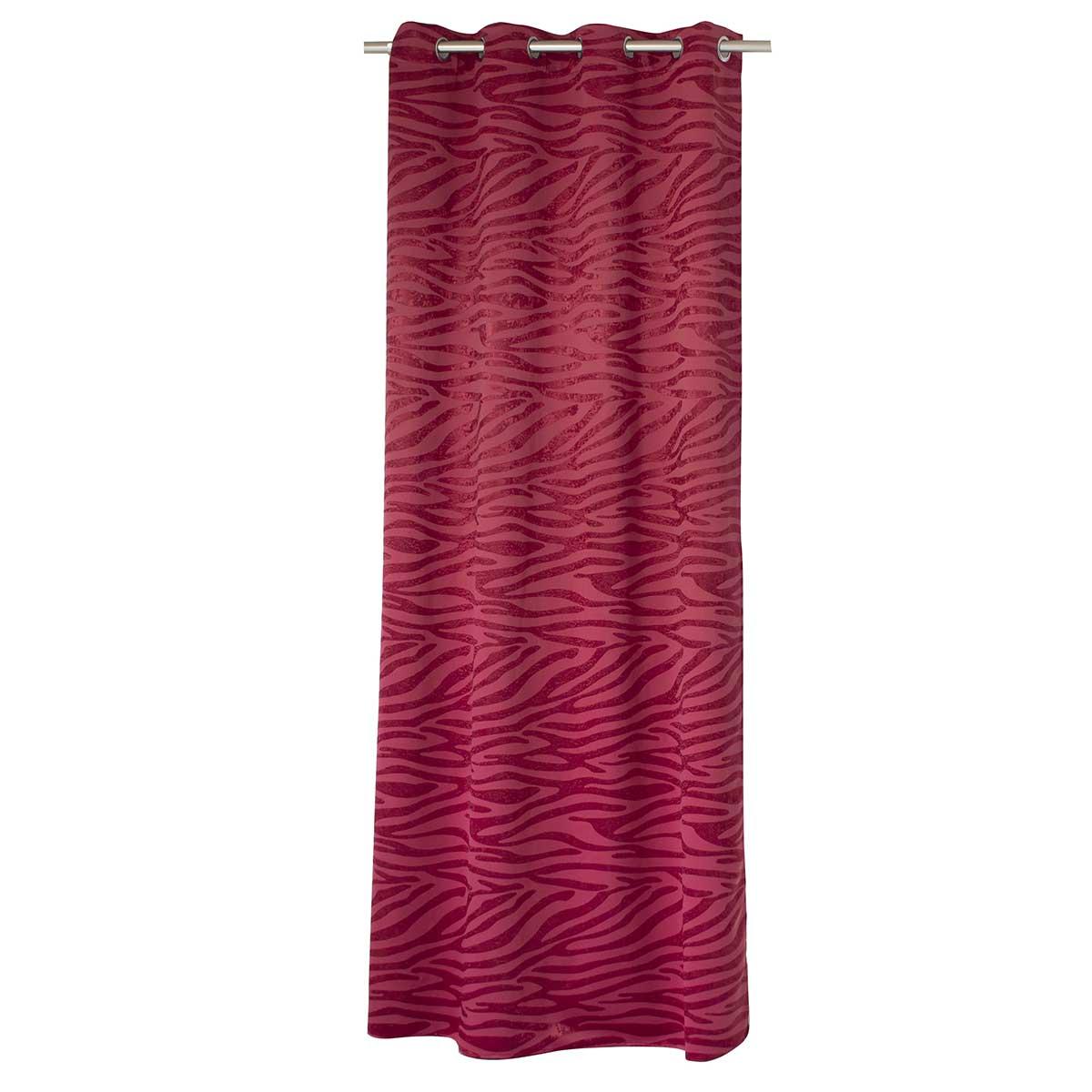 Rideau occultant à jacquard tigré - Rouge - 135 x 240cm
