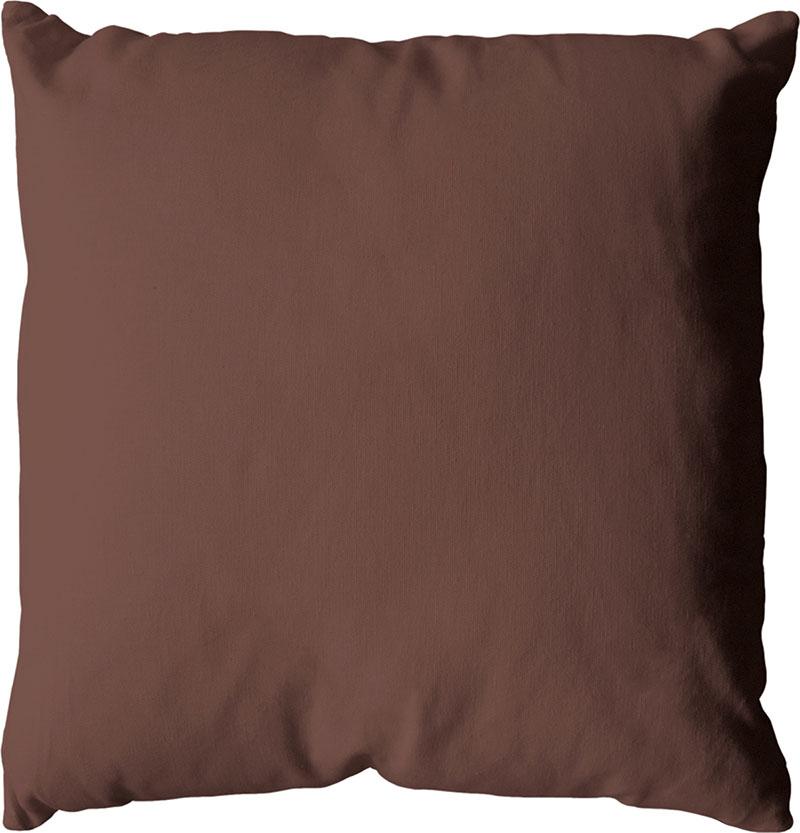 Coussin déhoussable uni en coton   (Chocolat)