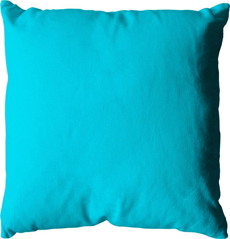 Coussin Déhoussable Uni en Coton   (Turquoise)