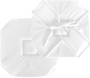 Galette de chaise plate unie à rabats et nouettes  (Blanc)