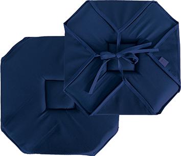 Galette de chaise plate unie à rabats et nouettes  (Bleu Marine)