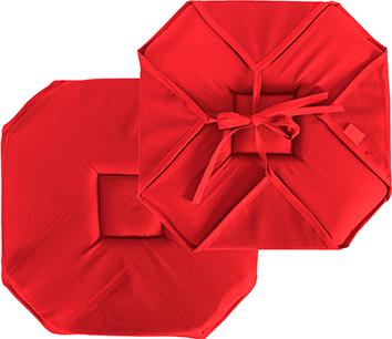 Galette de chaise plate unie à rabats et nouettes  (Rouge)