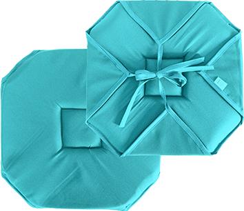Galette de chaise plate unie à rabats et nouettes  (Turquoise)