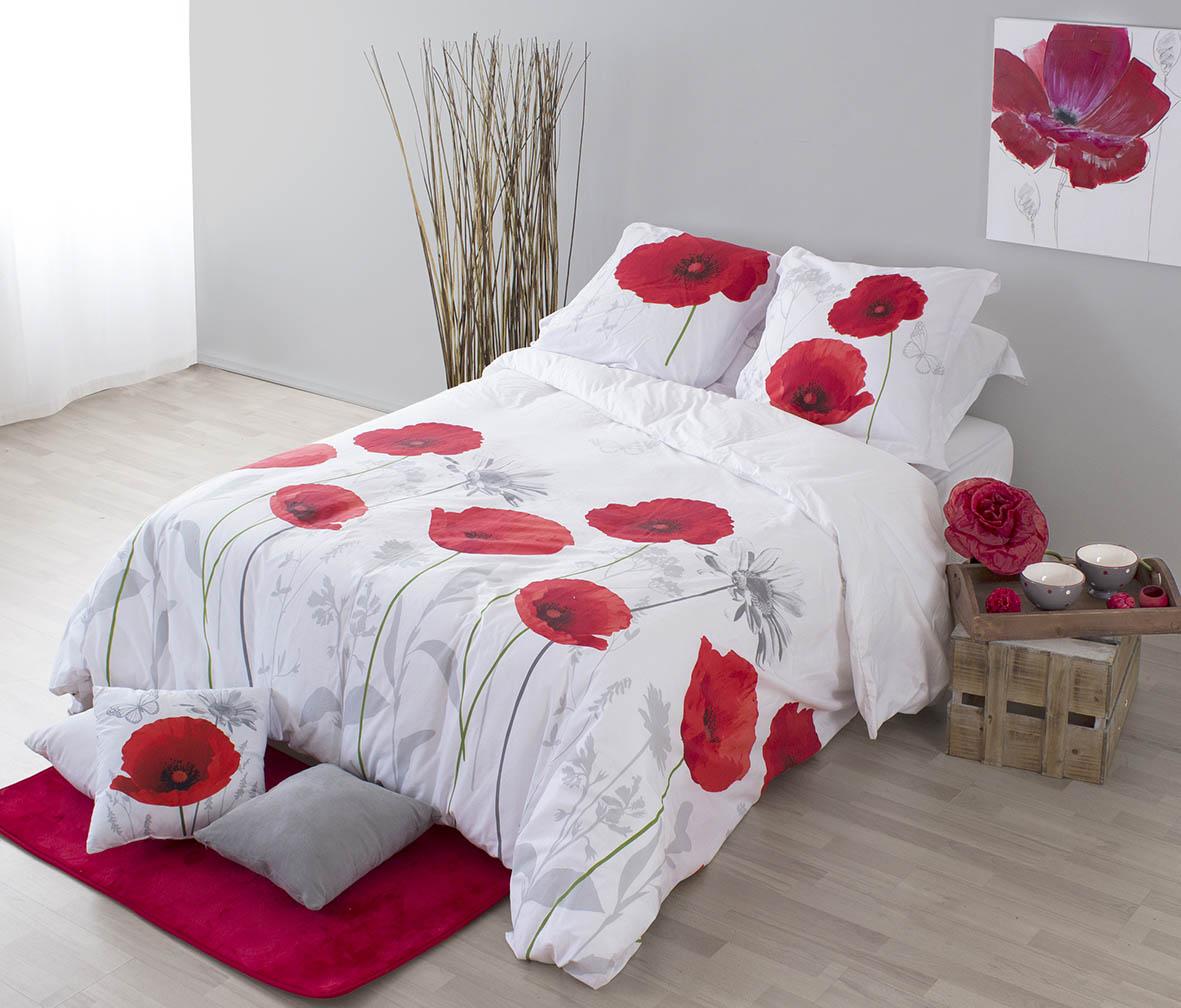 parure de lit motifs housse de couette et 2 taies coquelicot matin d 39 hiver amour. Black Bedroom Furniture Sets. Home Design Ideas