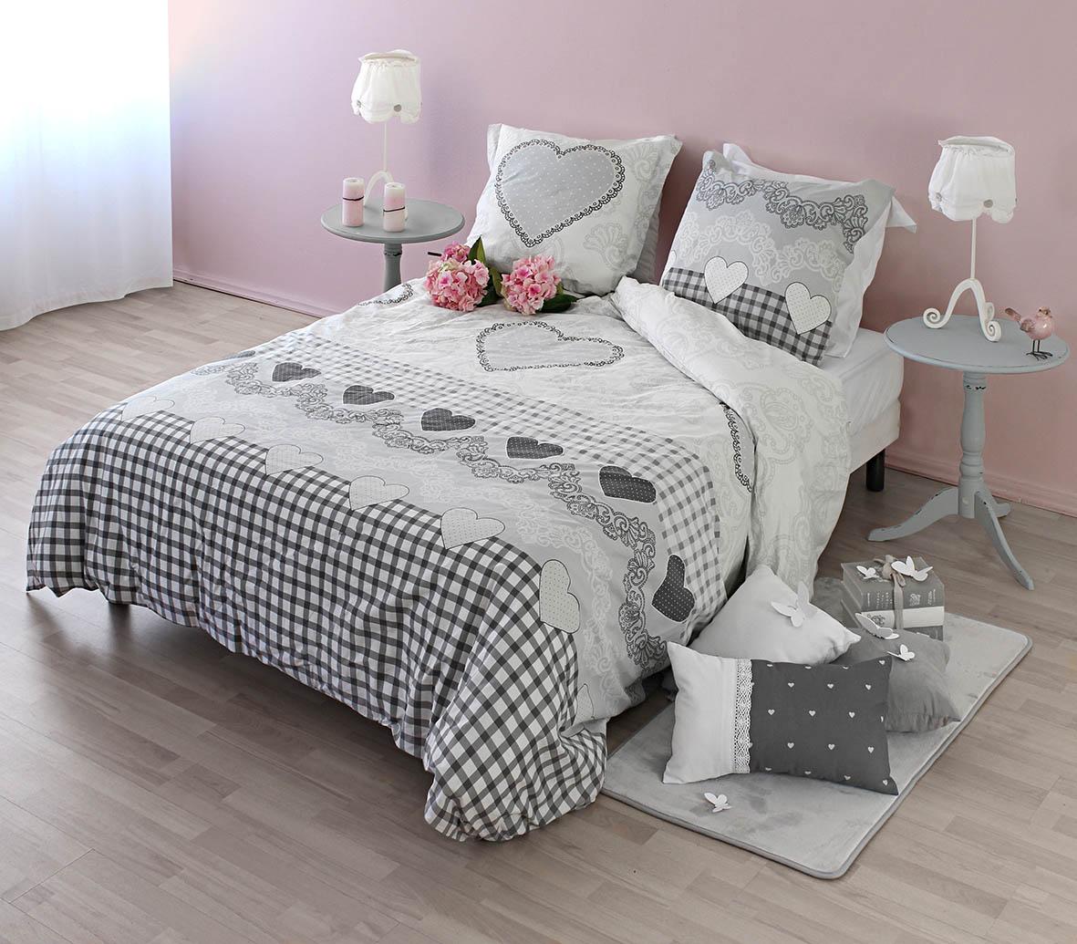 parure de lit motifs housse de couette et 2 taies romance matin d 39 hiver amour boh me. Black Bedroom Furniture Sets. Home Design Ideas