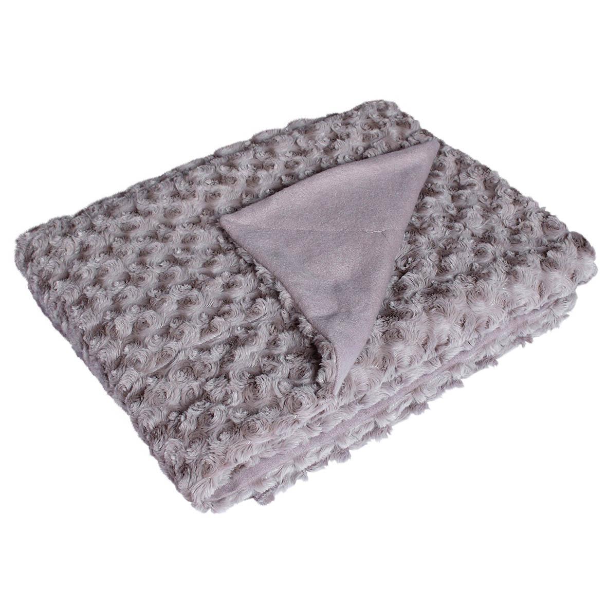plaid en fausse fourrure uni reliefs petite rose. Black Bedroom Furniture Sets. Home Design Ideas