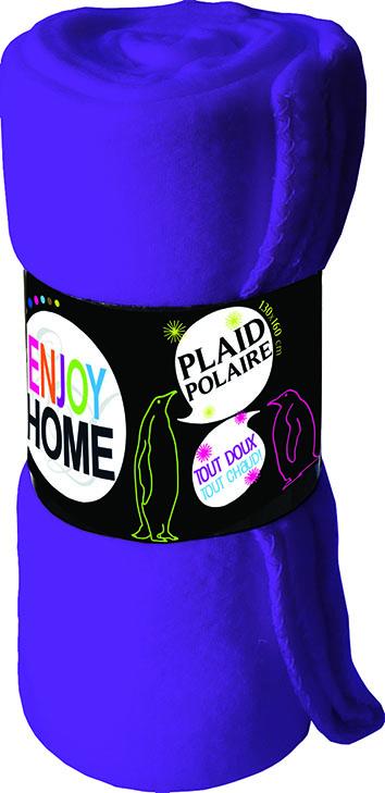 Plaid en polaire uni douceur - Violet - 130 x 160 cm