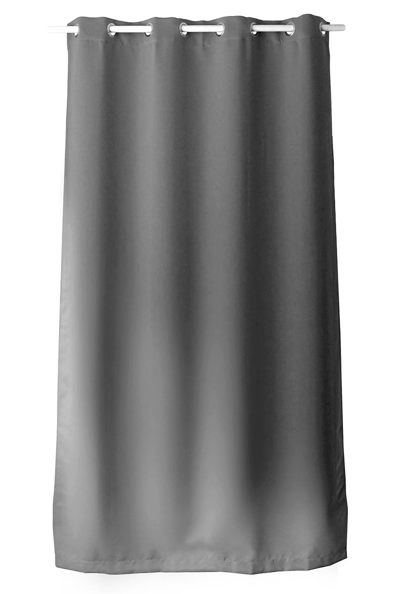 Rideau occultant uni avec 8 illets - Gris - 140 x 180 cm