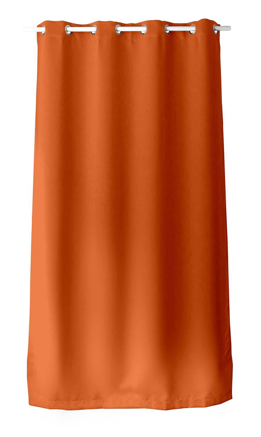 rideau occultant uni avec 8 illets orange vieux rose vison bleu marine gris fonc. Black Bedroom Furniture Sets. Home Design Ideas
