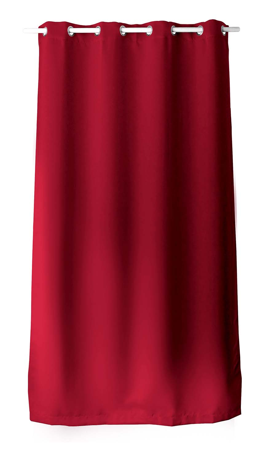 Rideau occultant uni avec 8 illets - Rouge - 140 x 240 cm