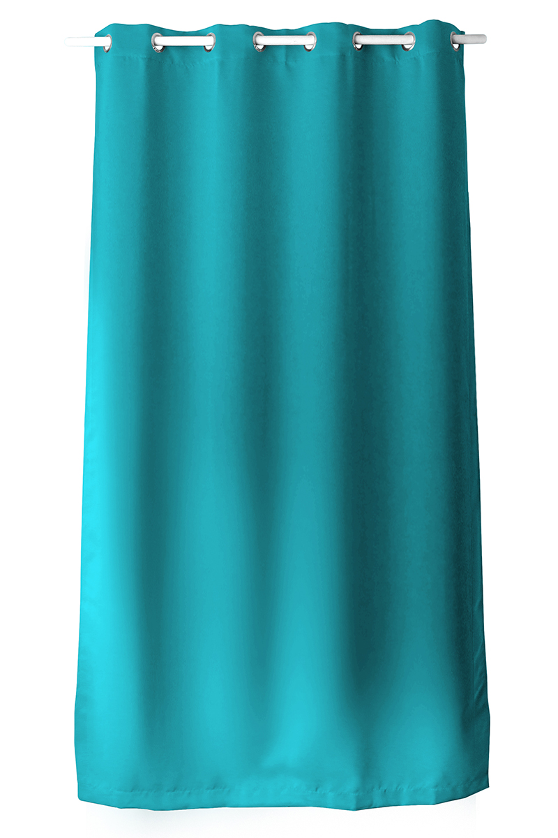 Rideau occultant uni avec 8 illets turquoise fuchsia vison corail gris fonc for Rideau turquoise