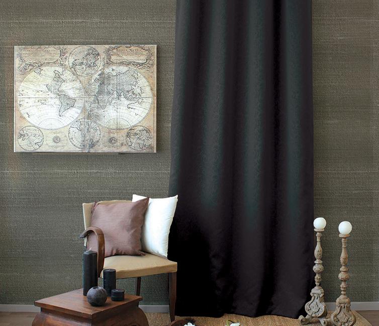 Rideau Occultant à Motifs Tons sur Tons 8 Oeillets - Noir - 140 x 240 cm