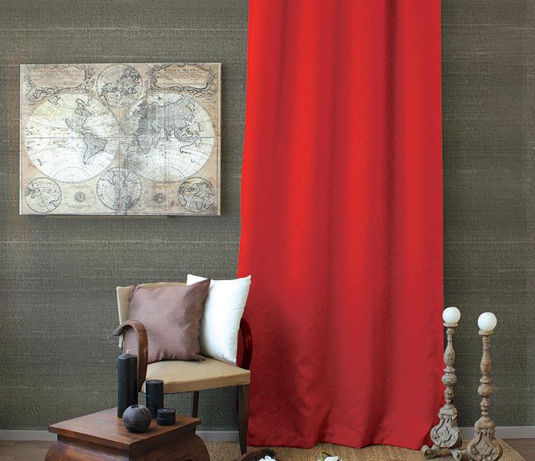 Rideau Occultant à Motifs Tons sur Tons 8 Oeillets - Rouge - 140 x 240 cm
