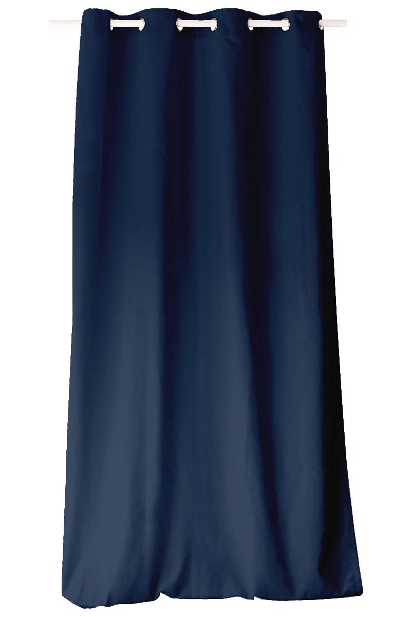 rideau color en pur coton 8 illets bleu marine. Black Bedroom Furniture Sets. Home Design Ideas