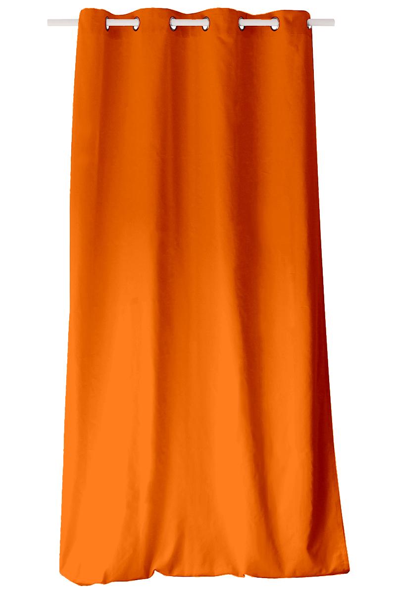 Rideau Coloré en Pur Coton 8 illets - Orange - 135 x 240 cm