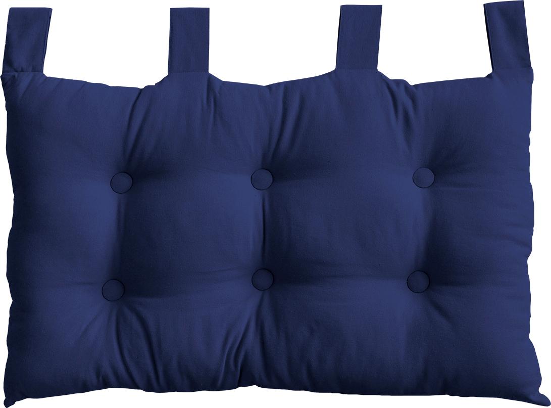 Coussin Tête de Lit en Coton et Pattes Boutonnées (Bleu Marine)