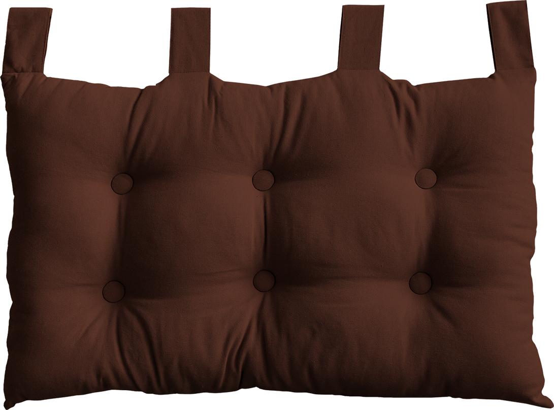 Coussin Tête de Lit en Coton et Pattes Boutonnées - Chocolat - 70 x 45 cm
