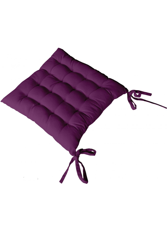 Galette de Chaise Piquée 16 Points en Coton et Nouettes (Violet)