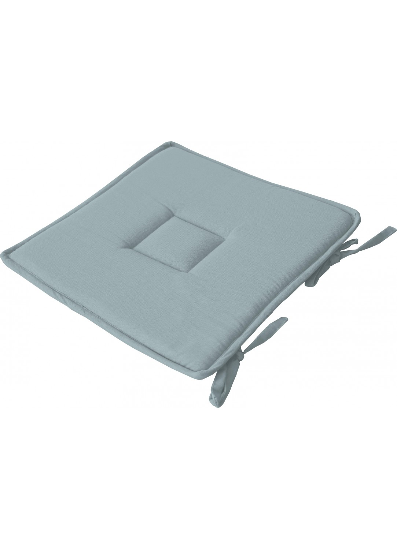 Galette plate unie en coton passepoil et nouettes (Bleu Gris)