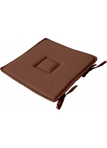 Galette Plate Unie en Coton Passe Poil et Nouettes - Chocolat - 40 x 40 cm