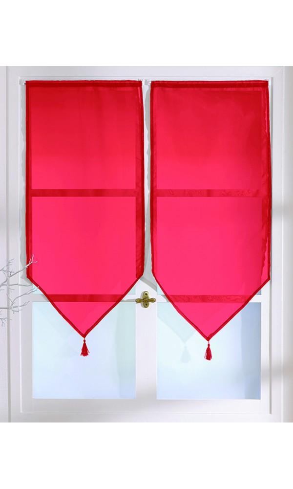 Petits Voilages Unis en Polyester à Pointes et Pompons - Rouge Vif - 60 x 120 cm