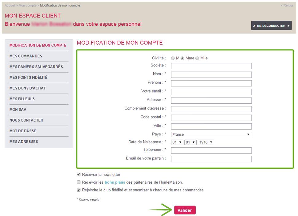 Modifier les informations de son compte client Home Maison