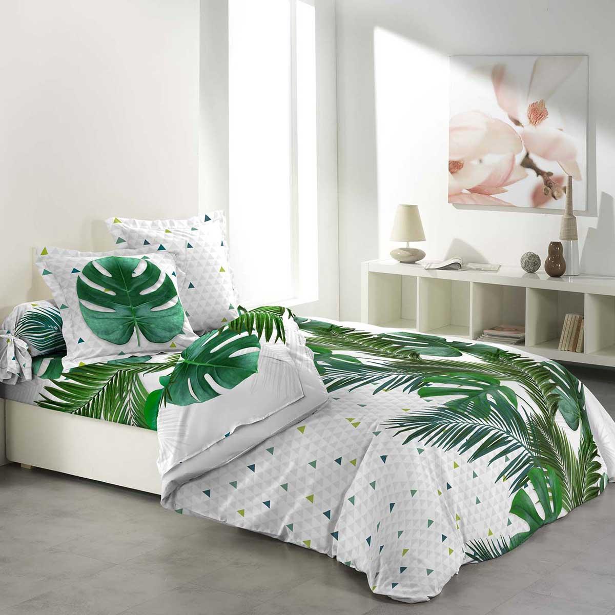 parure de couette imprim e feuillages tropicaux 6 pi ces. Black Bedroom Furniture Sets. Home Design Ideas