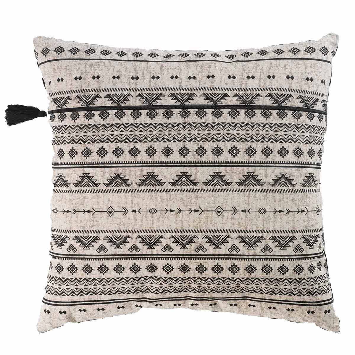 coussin imprim ethnique noir et blanc ecru noir. Black Bedroom Furniture Sets. Home Design Ideas