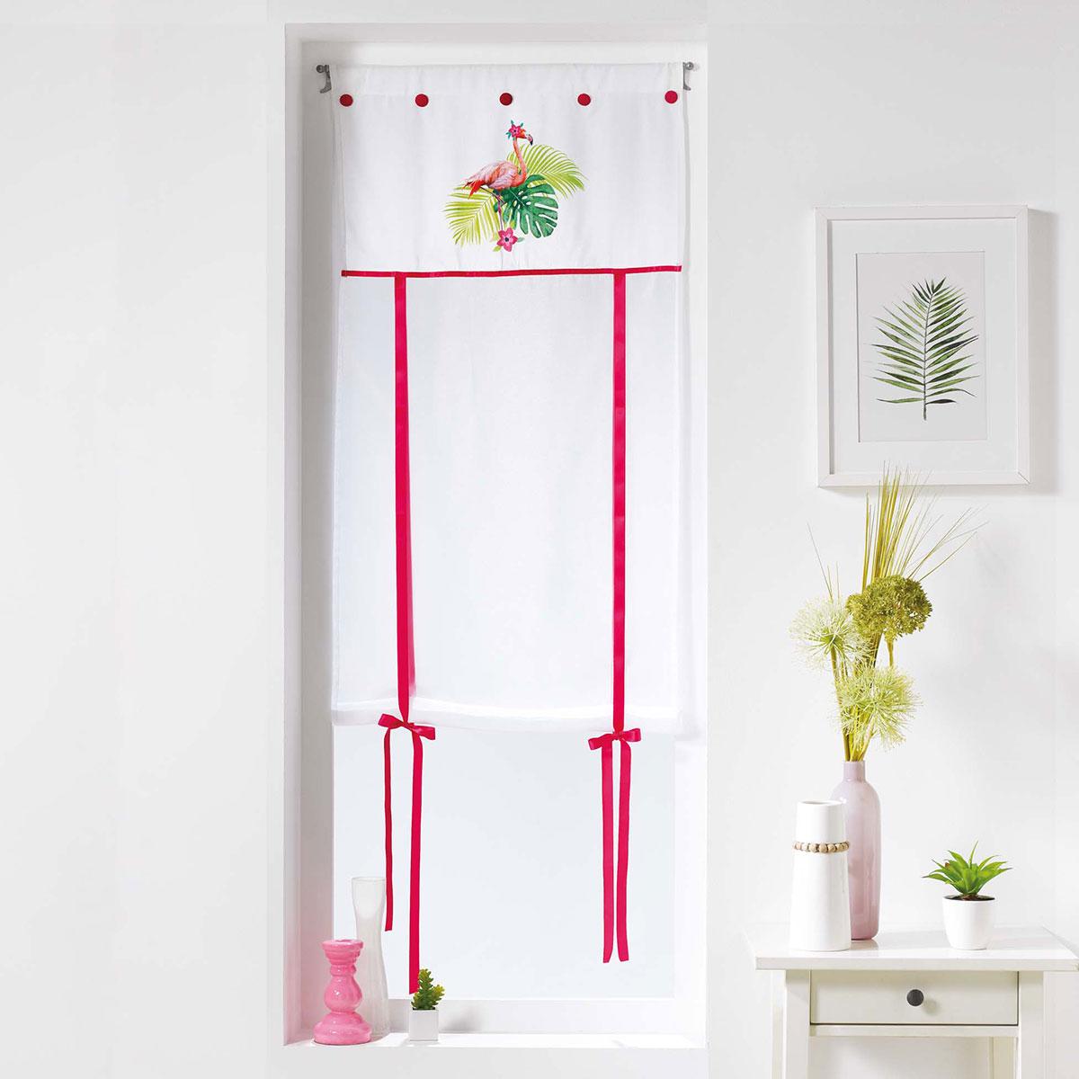 Store relevable imprimé flamant rose (Blanc)