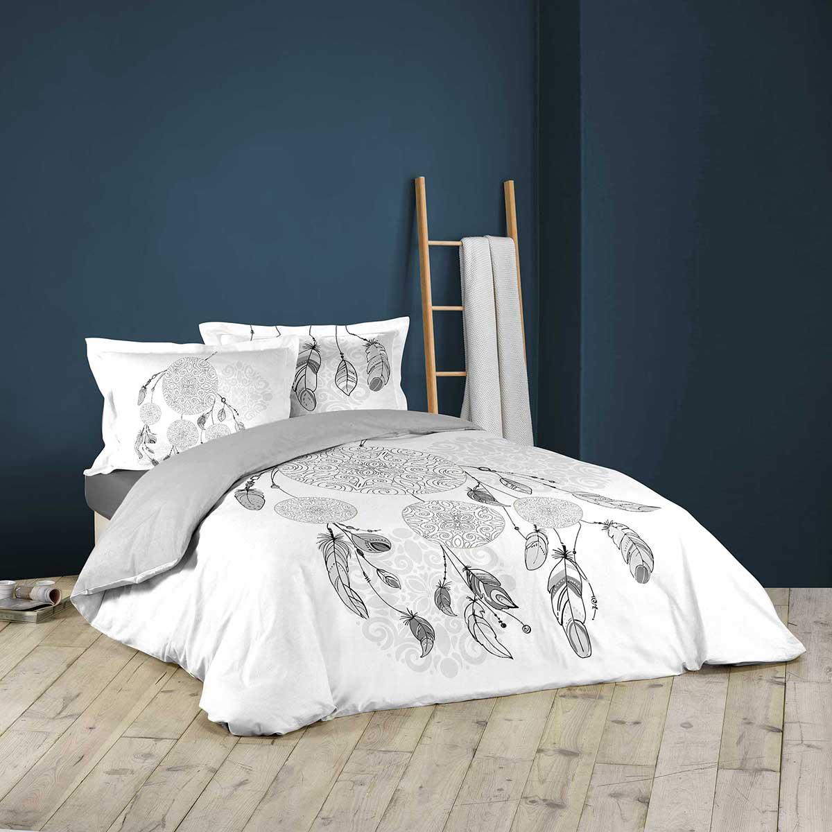 Parure de couette imprimée motifs amériendiens - blanc / gris - 240 x 220 cm + 2T