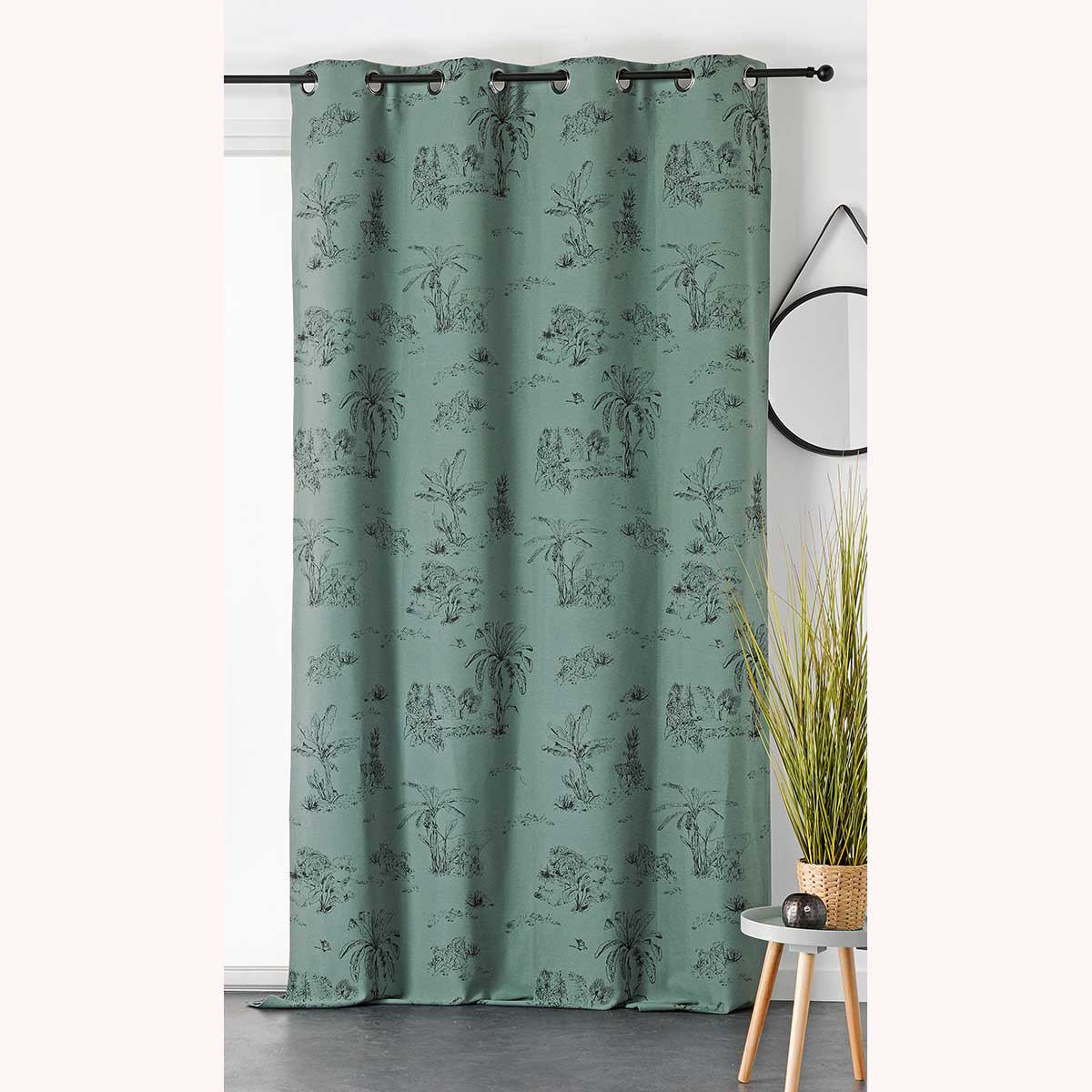Rideau tamisant à impressions exotiques - Vert - 140 x 240 cm