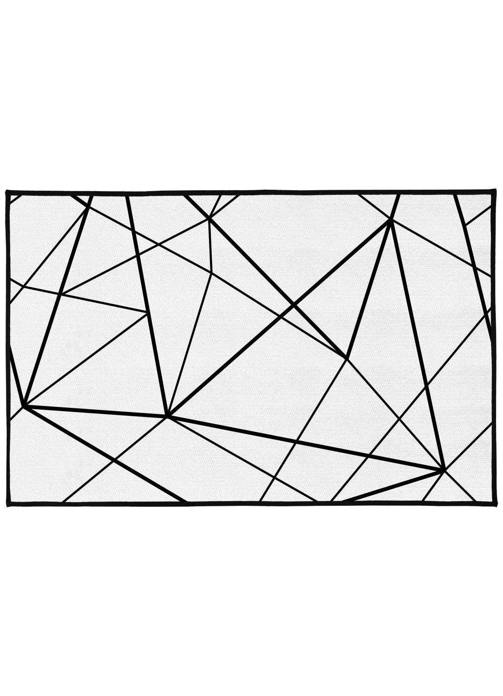 Tapis de bain motifs g om triques blanc blanc - Tapis motif geometrique ...
