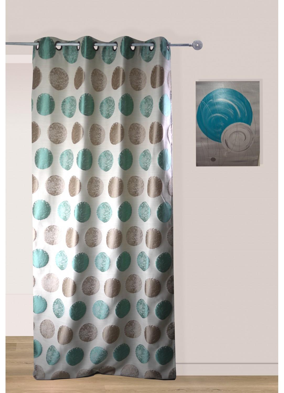 rideau pois bicolore avec oeillets beige gris rose homemaison vente en ligne rideaux. Black Bedroom Furniture Sets. Home Design Ideas