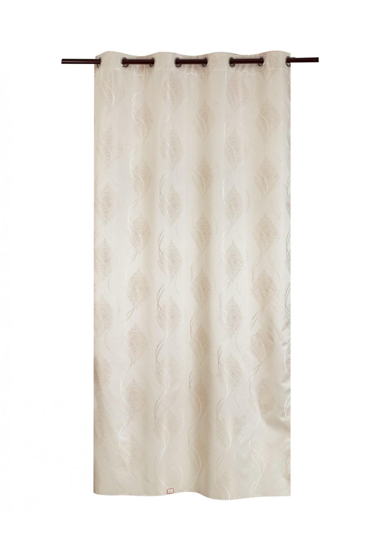 rideau obscurcissant et thermique dessins jacquard beige. Black Bedroom Furniture Sets. Home Design Ideas