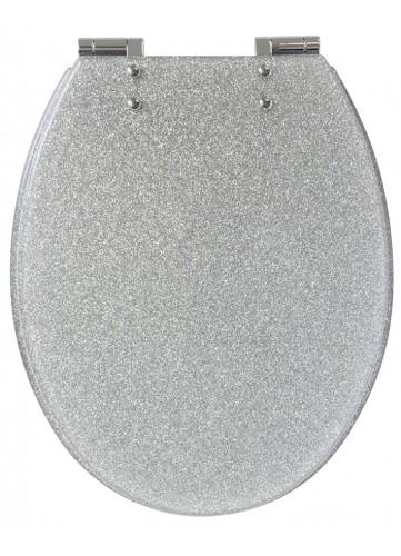 Abattant wc glitter paillet design argent homebain vente en ligne abattants wc for Abattant wc paillette