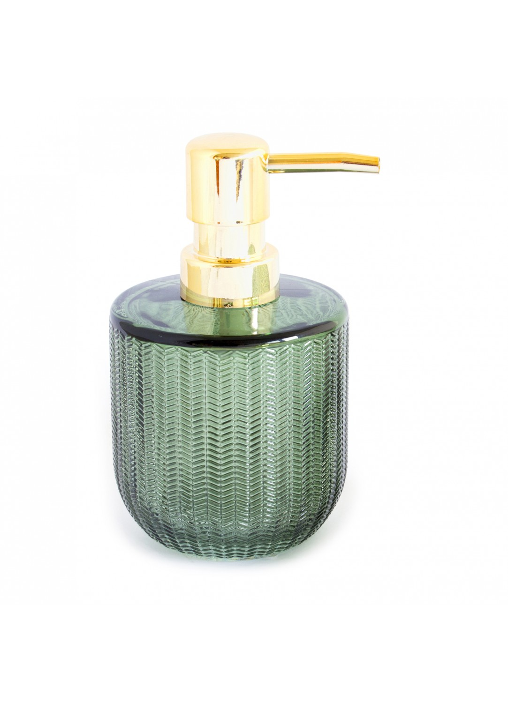 Distributeur de savon en verre relief strié  (Vert)