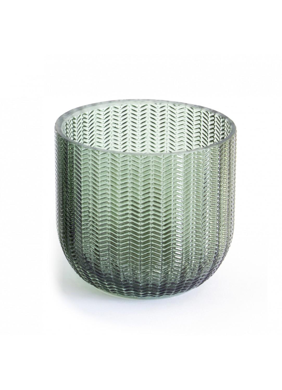 Gobelet en verre relief strié (Vert)