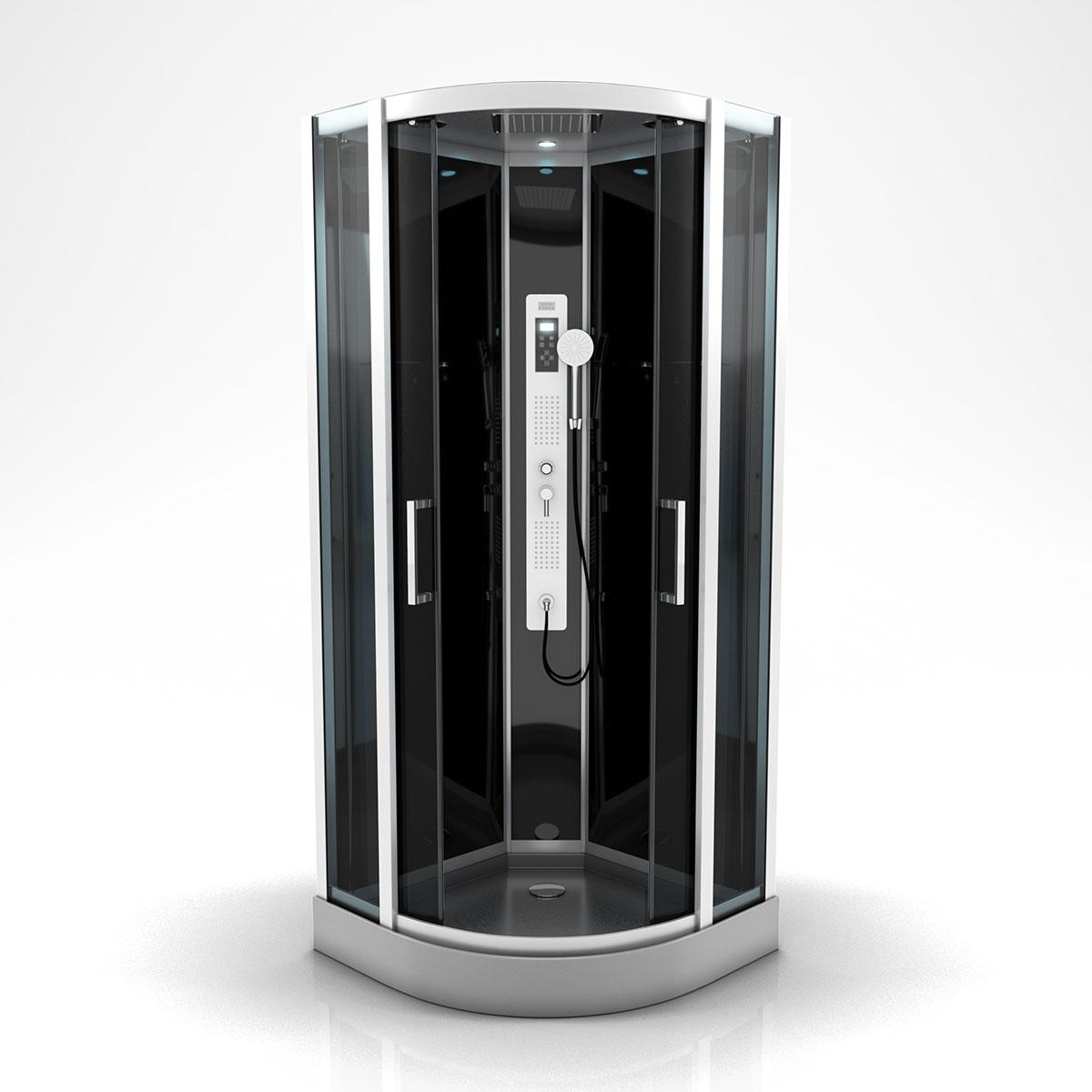 Cabine de douche ronde à multi jets (Gris)