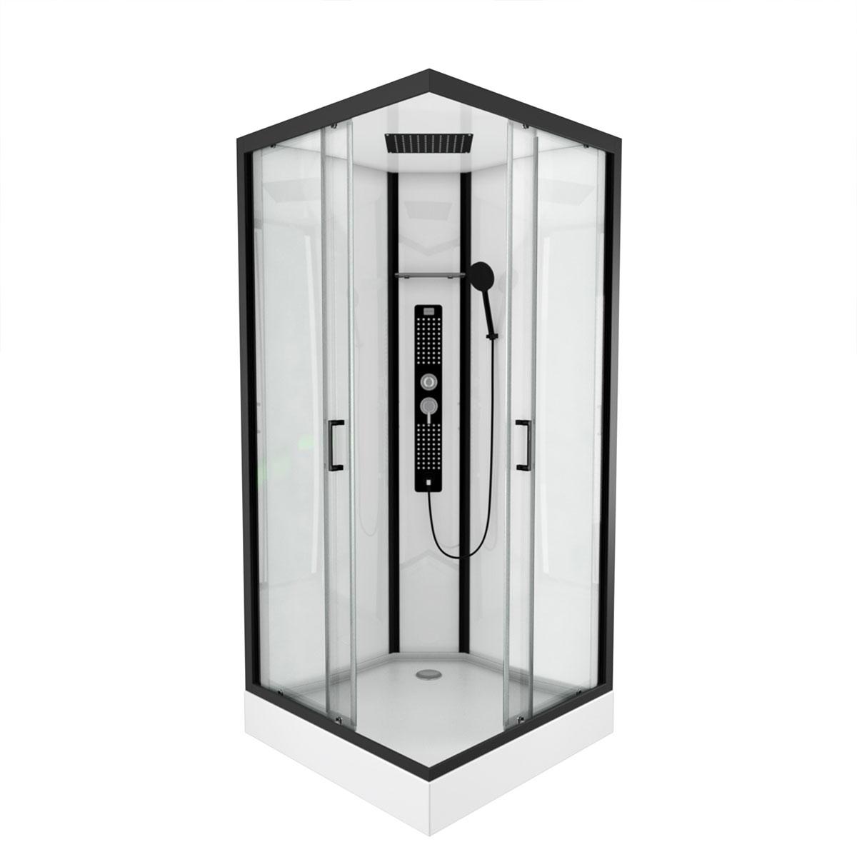 Cabine de douche carrée au style industriel (Noir)