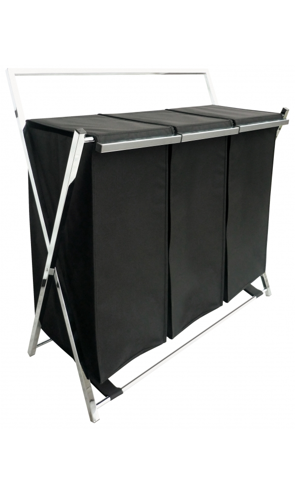 panier a linge 3 bacs spirit noir homebain vente en ligne paniers linge. Black Bedroom Furniture Sets. Home Design Ideas