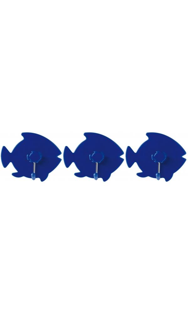 3 Patères Poisson indigo